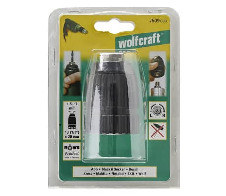 wolfcraft Quick-Release Drill Chuck 1,5-13 mm Black 2609000