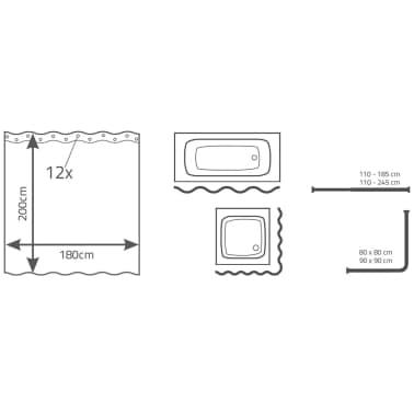 RIDDER Rideau de douche Standard 180 x 200 cm Blanc[3/3]
