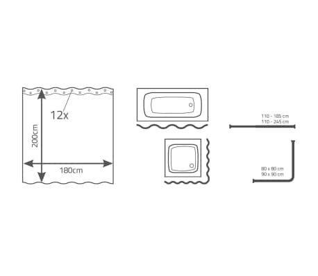 RIDDER Rideau de douche Flowerpower 180 x 200 cm[3/3]