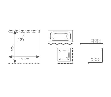 RIDDER Rideau de douche Brilliant 180 x 200 cm[3/3]