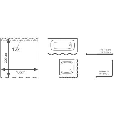 RIDDER Dušo užuolaida Bambus, 180x200cm[4/5]