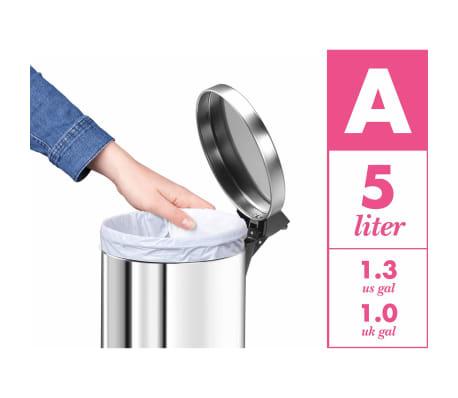 Hailo Papelera con pedal T2 tamaño S 4 L acero inoxidable 0704-034[8/8]
