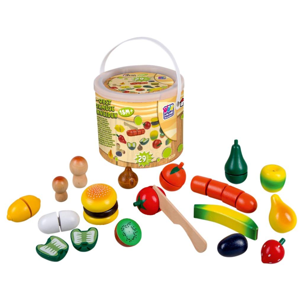 Happy People houten speelgoedeten groenten & fruit 29-delig