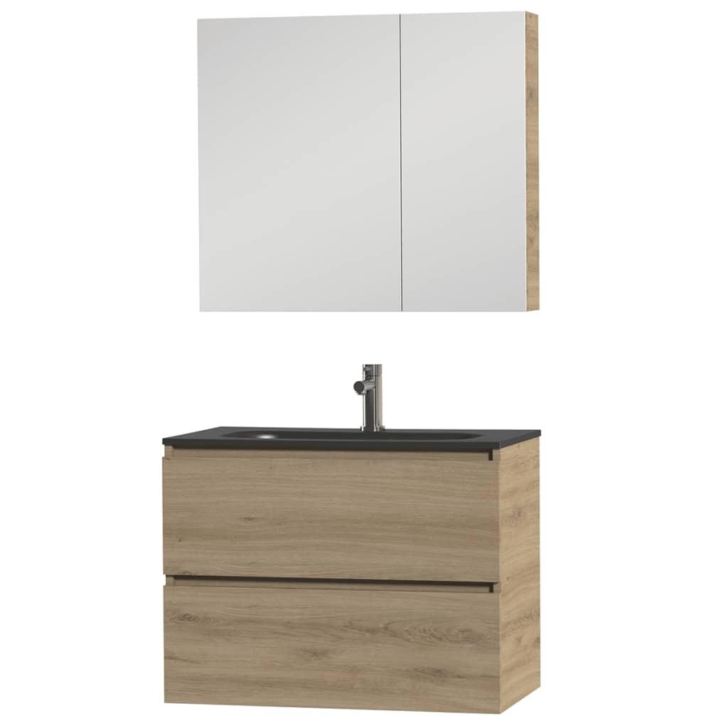Tiger Badkamer meubelset Loft 80 cm eikenhout zwart 1644423202