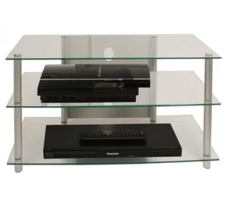 Tv meubel tv kast sindas helder glas online kopen for Tv meubel glas