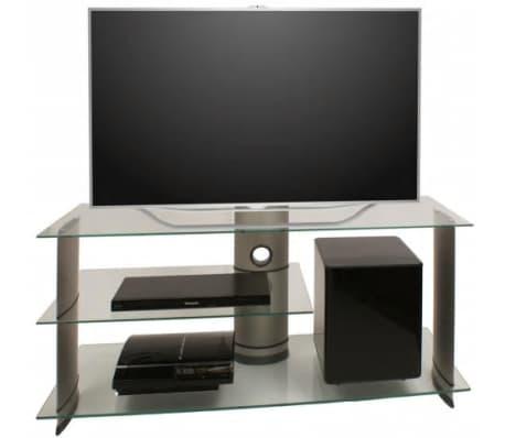 Glaze Tv Meubel.Tv Meubel Tv Standaard Subuso 120 Cm Verrijdbaar Zilver Helder Glas