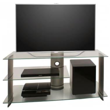 Glazen Tv Meubel Verrijdbaar.Tv Meubel Tv Standaard Subuso 120 Cm Verrijdbaar Zilver