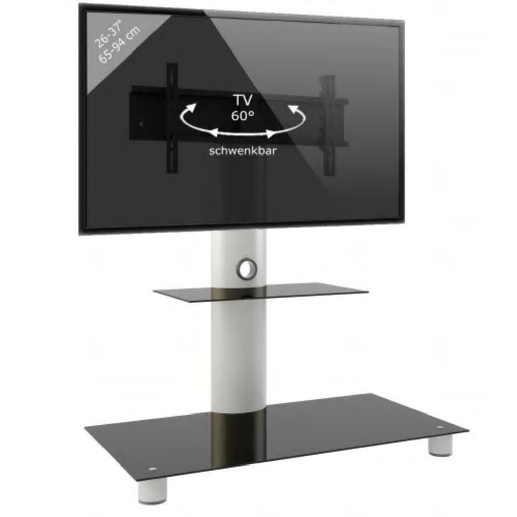VCM TV meubel standaard Standol, verrijdbaar zilver/zwart glas
