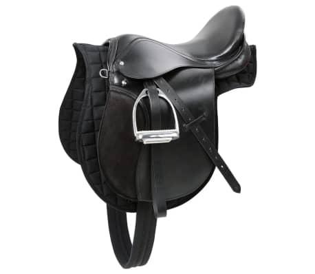Kerbl Șa din piele pentru cai din rasa Haflinger, negru, 32285