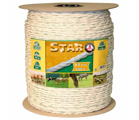 Kerbl Elektrinės tvoros virvė Star, 500m, baltos ir žalios sp., 6mm[1/2]