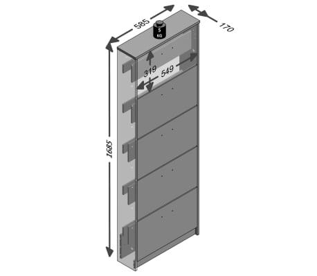 FMD Mueble zapatero con 5 compartimentos basculantes blanco 411-005[3/3]