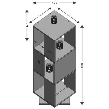 FMD Classeur rotatif ouvert 34 x 34 x 108 cm Blanc[2/2]