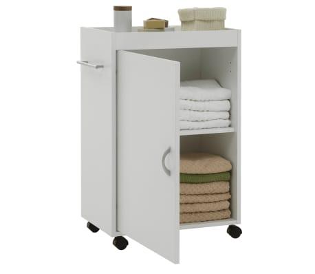 FMD Armoire de salle de bain sur roulettes pivotantes Blanc[1/2]