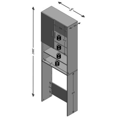 FMD Meuble pour machine à laver avec espace de rangement Blanc 913-001[3/3]