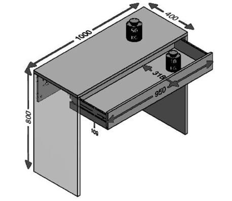 FMD Bureau avec grand tiroir 100 x 40 x 80 cm Blanc 362-001[3/3]