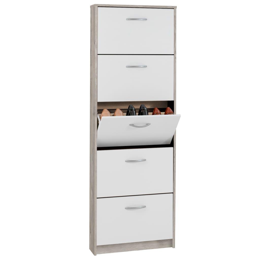 Afbeelding van FMD Schoenenkast met 5 kantelende vakken wit en eikenkleur