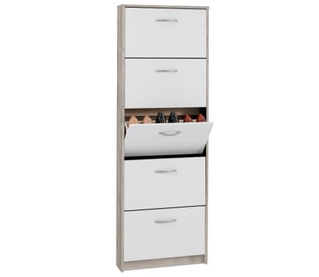 FMD Mueble zapatero con 5 compartimentos basculantes blanco y roble