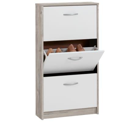 FMD Mueble zapatero con 3 compartimentos basculantes blanco y roble[1/2]