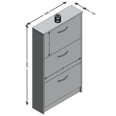 FMD Mueble zapatero con 3 compartimentos basculantes blanco y roble[2/2]
