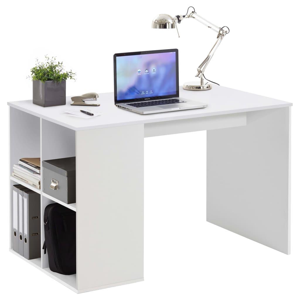 FMD Γραφείο με Πλευρικά Ράφια 117 x 72,9 x 73,5 εκ. Λευκό της Άμμου