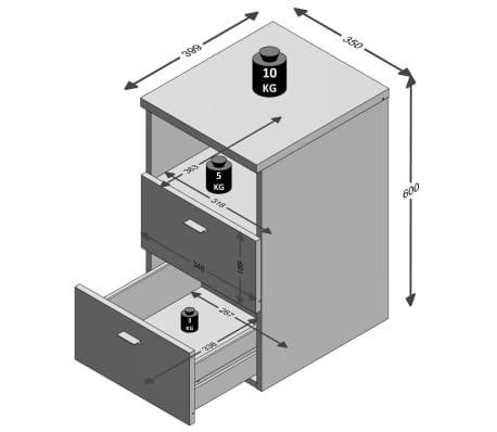 FMD Naktinis stal. su 2 stalčiais ir atvira lent., lavos pilk. sp.[3/3]