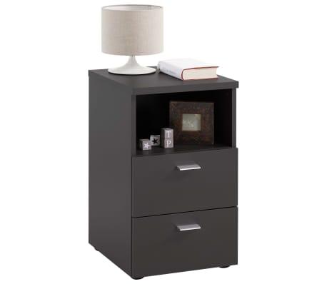 FMD Naktinis staliukas su 2 stalčiais ir atvira lentyna, juodas