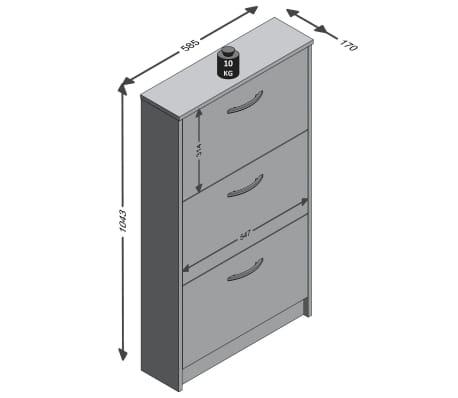FMD Mueble zapatero con 3 compartimentos basculantes blanco y hormigón[3/3]