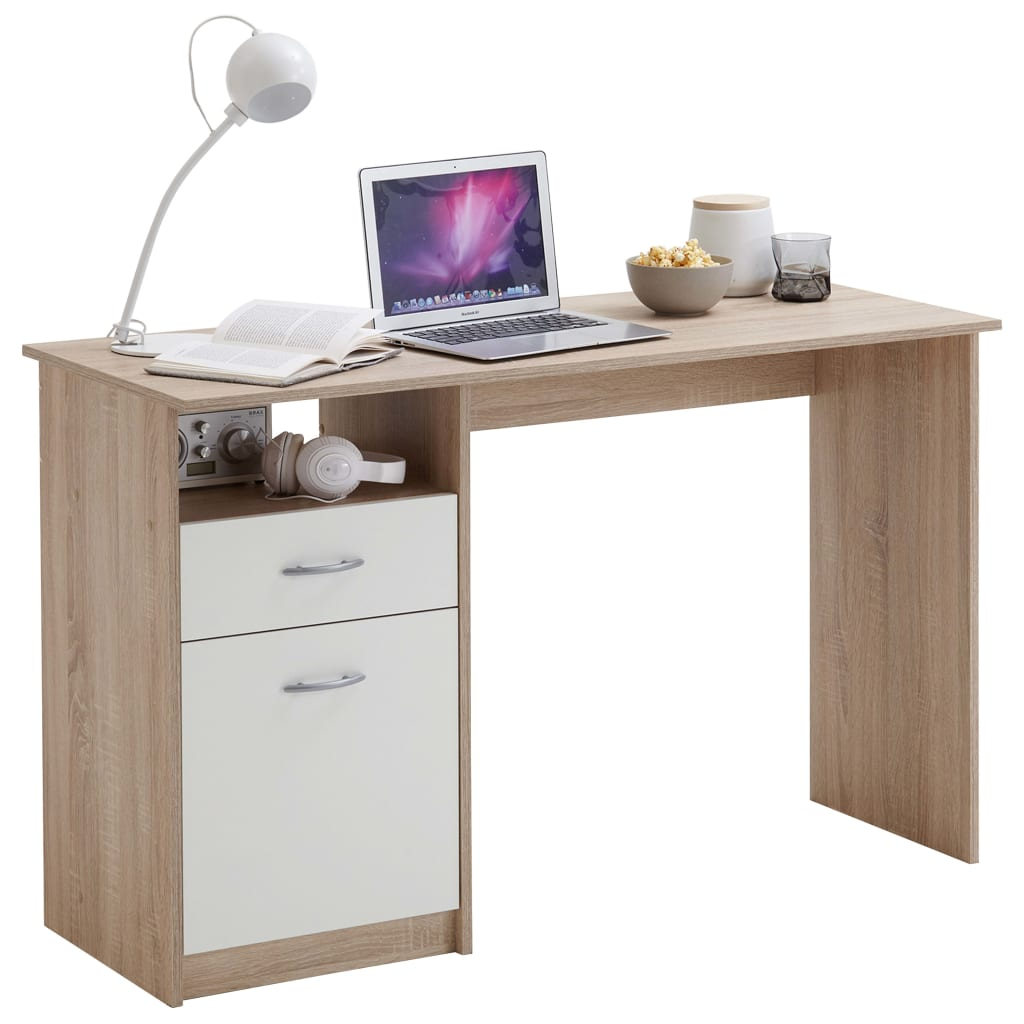 FMD Γραφείο με 1 Συρτάρι Λευκό / Χρώμα Δρυός 123 x 50 x 76,5 εκ.