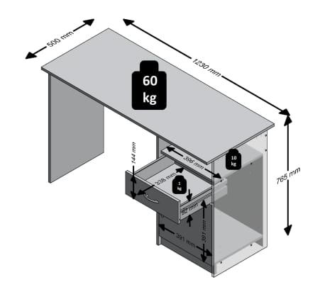 FMD Bureau met 1 lade 123x50x76,5 cm wit en zwart 3004-001[5/5]
