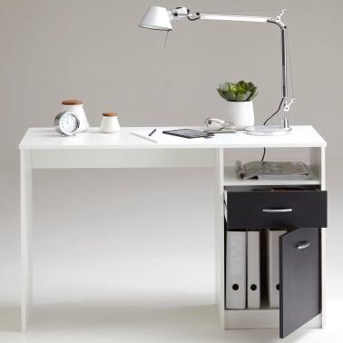 FMD Bureau met 1 lade 123x50x76,5 cm wit en zwart 3004-001[4/5]