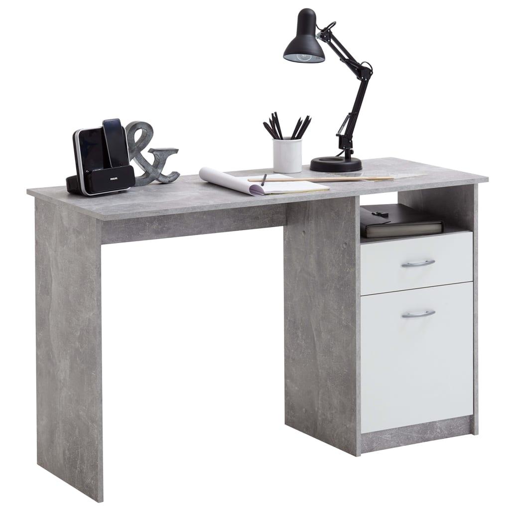 FMD Γραφείο με 1 Συρτάρι Λευκό / Γκρι του Σκυροδέματος 123x50x76,5 εκ.