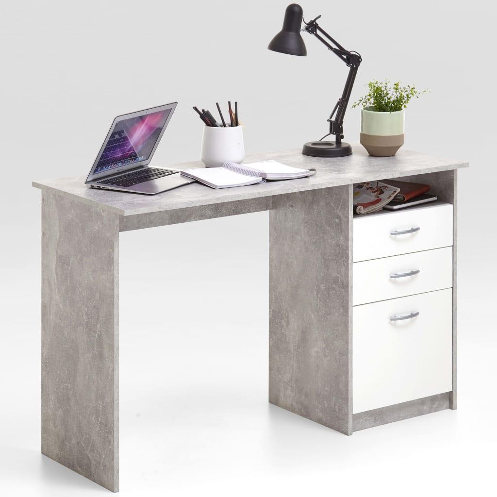 Afbeelding van FMD Bureau met 2 lades 123x50x76,5 cm betonkleur en wit 3010-001