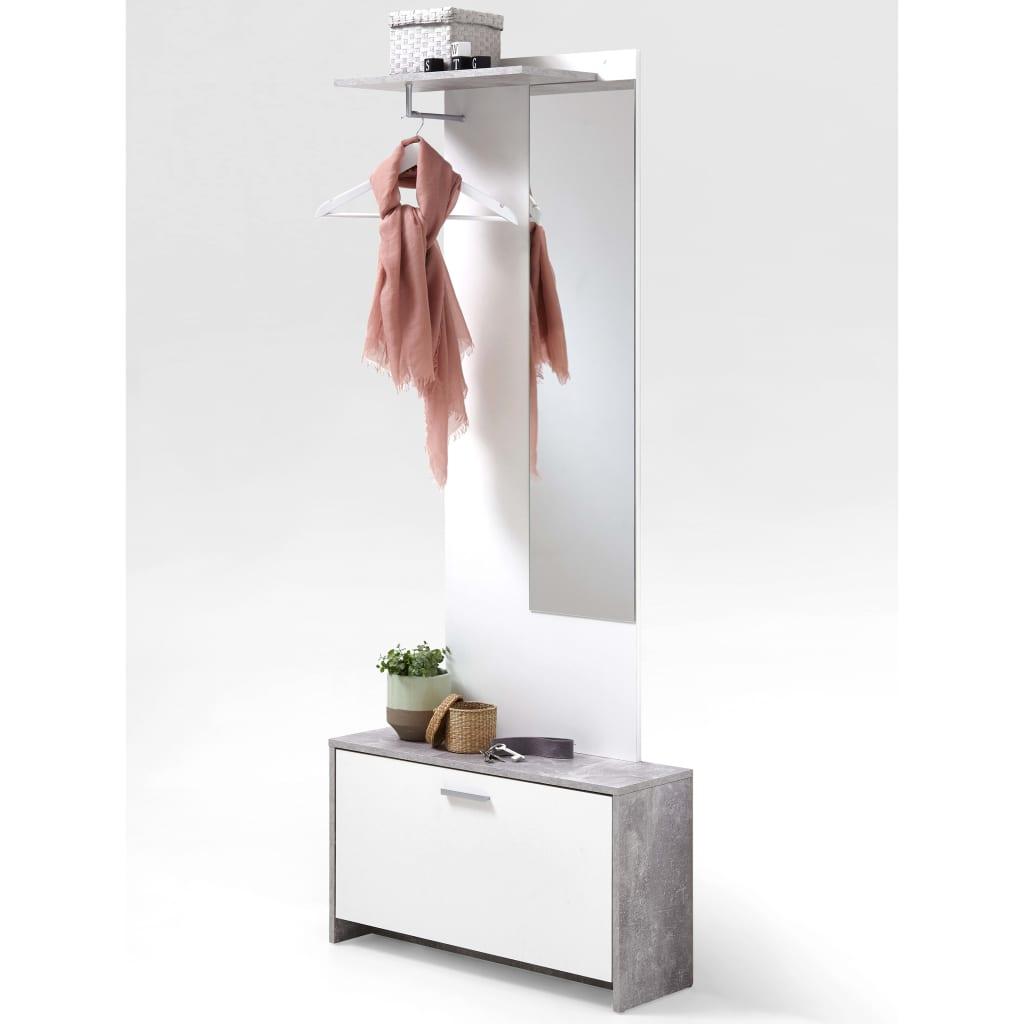 Afbeelding van FMD Kapstok met spiegel en opbergruimte betonkleur en wit 4019-001