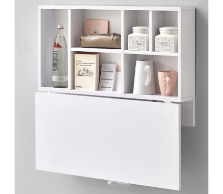 FMD Prie sienos mont. sulankst. staliukas su lentyna, baltas, 658-002[3/4]