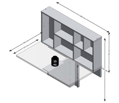 FMD Prie sienos mont. sulankst. staliukas su lentyna, baltas, 658-002[4/4]