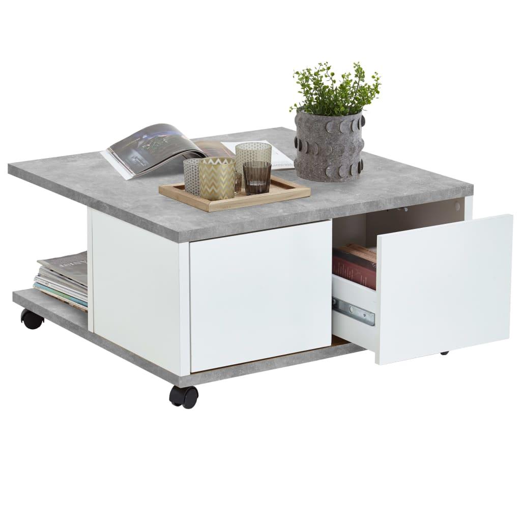Afbeelding van FMD Salontafel verplaatsbaar 70x70x35,5 cm betongrijs en glanzend wit