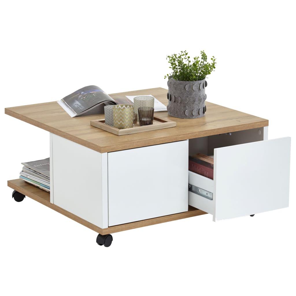 Afbeelding van FMD Salontafel verplaatsbaar 70x70x35,5 cm eiken en glanzend wit