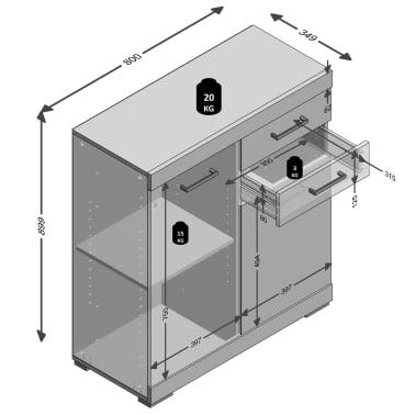 FMD Spintelė su 2 dur. ir 2 stalč., 80x34,9x89,9cm, bet ir balt. sp.[4/4]