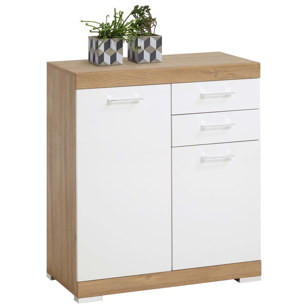 FMD Dulap cu 2 uși și 2 sertare, 80x34,9x89,9 cm, alb și stejar vidaxl.ro