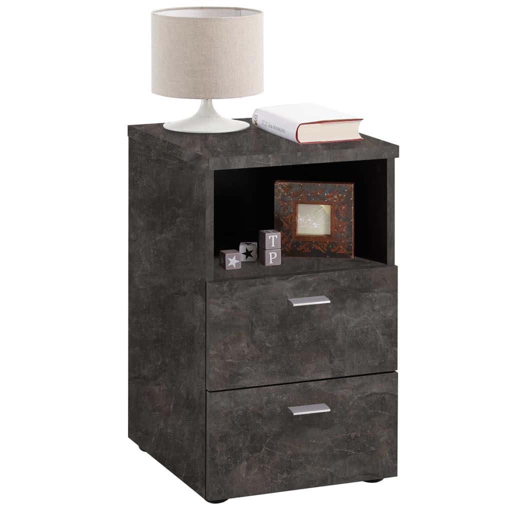 Afbeelding van FMD Nachtkastje met 2 lades en open schap donker betongrijs