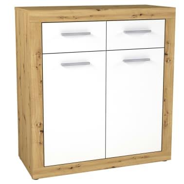 FMD Kast met 2 deuren en 2 lades wit en artisaneikenkleurig[1/2]