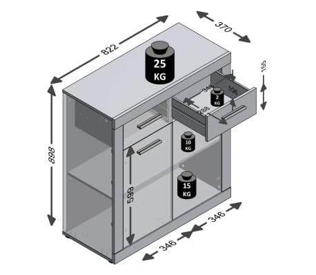 FMD Kast met 2 deuren en 2 lades wit en artisaneikenkleurig[2/2]