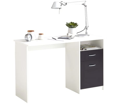 FMD Bureau avec 1 tiroir 123 x 50 x 76,5 cm Blanc et noir[1/4]