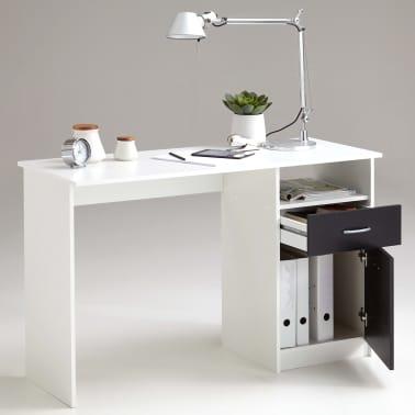 FMD Bureau avec 1 tiroir 123 x 50 x 76,5 cm Blanc et noir[2/4]