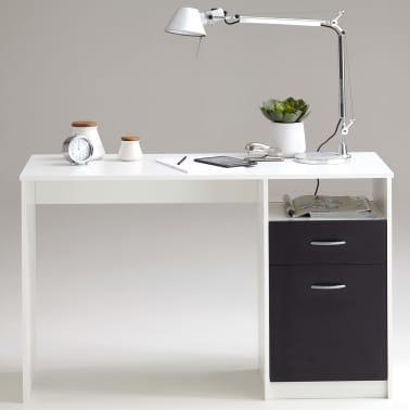 FMD Bureau avec 1 tiroir 123 x 50 x 76,5 cm Blanc et noir[3/4]
