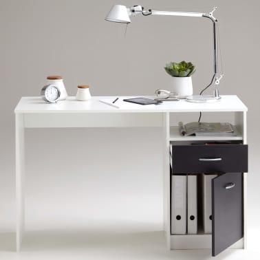 FMD Bureau avec 1 tiroir 123 x 50 x 76,5 cm Blanc et noir[4/4]