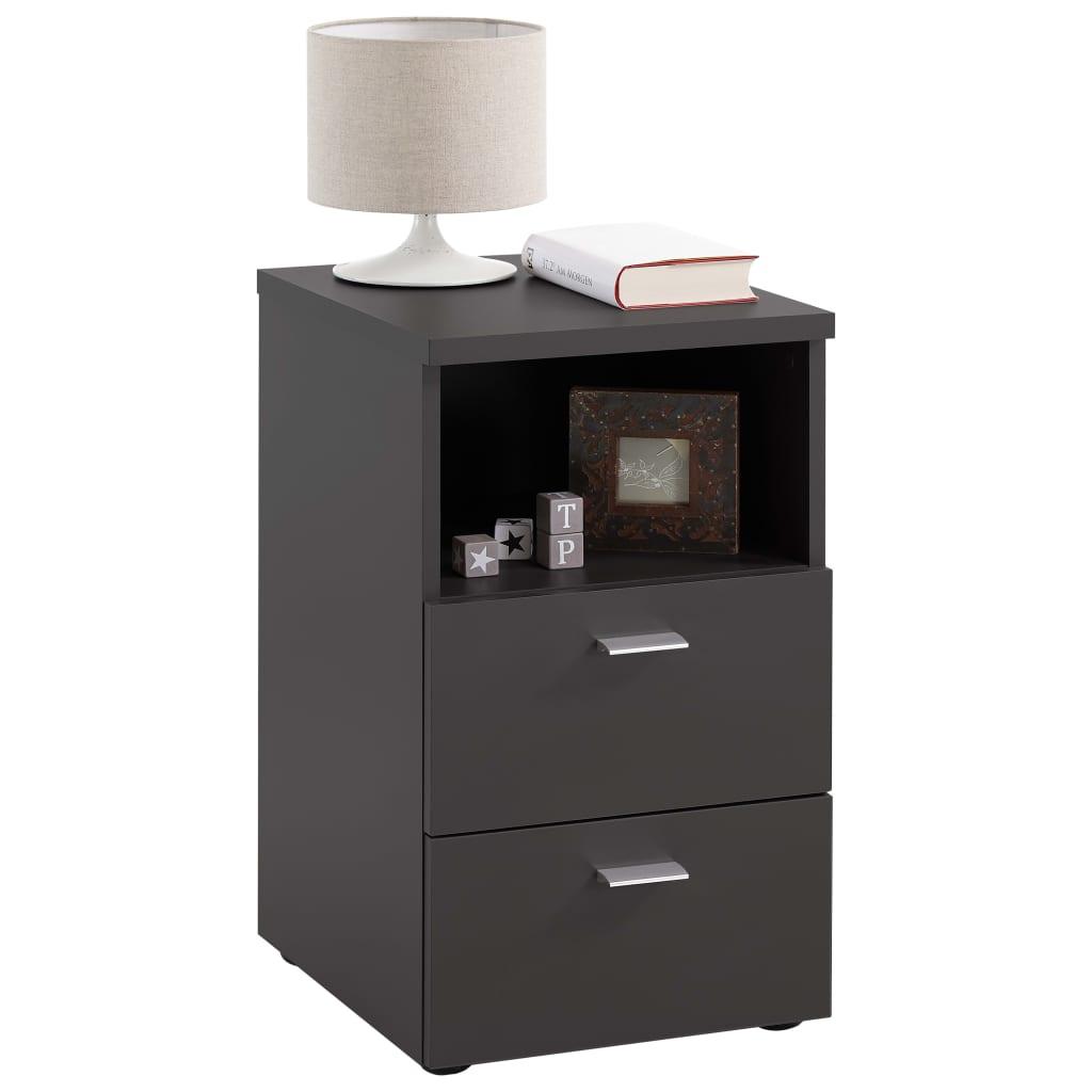 FMD Noptieră cu 2 sertare și raft deschis, negru imagine vidaxl.ro