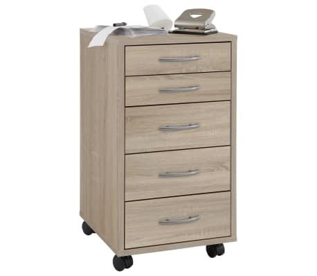FMD Armoire mobile avec 5 tiroirs Chêne[1/4]