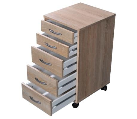 FMD Armoire mobile avec 5 tiroirs Chêne[2/4]