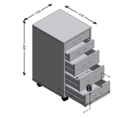 FMD Armoire mobile avec 5 tiroirs Chêne[4/4]